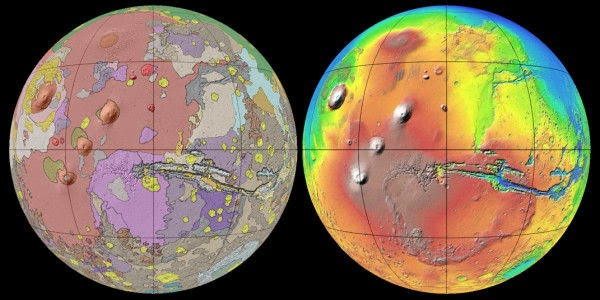 USGS's new geologic map of Mars is the most thorough representation yet of the red planet's surface. Credit: USGS