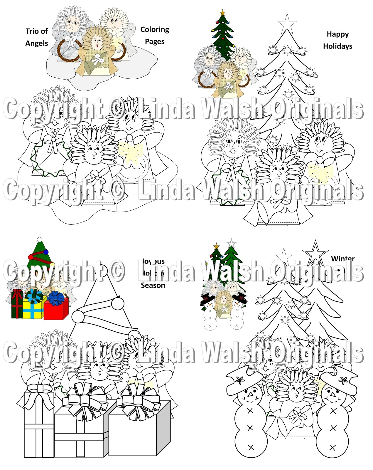 Trio Of Angels Free Holiday Coloring Pages