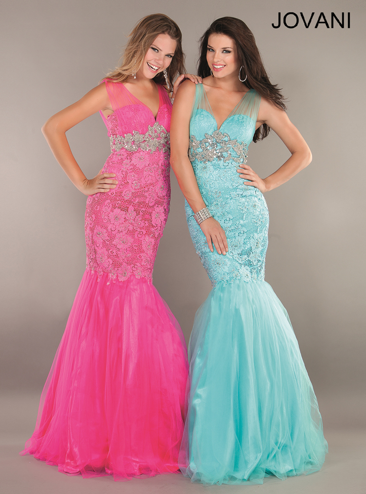 Jovani Prom Dresses 2013 long mermaid lace V-neck
