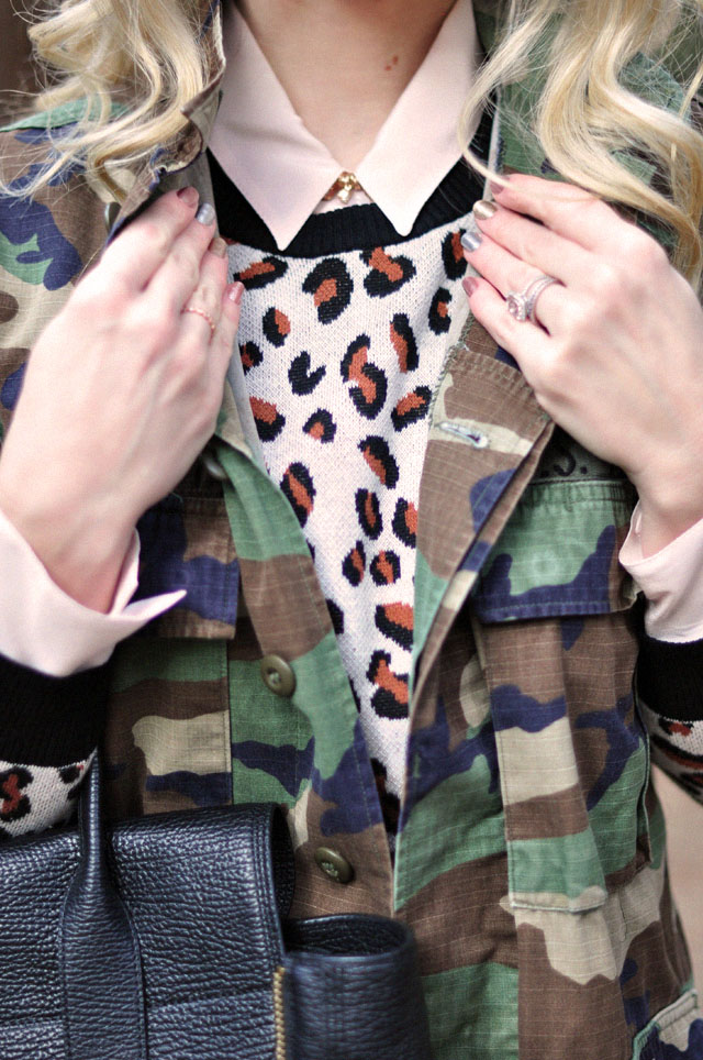 details, cheetah sweatshirt, camo jacket, metallic nails, long waves