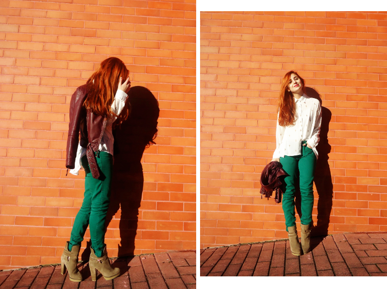 blogger wears camel, oxblood and green