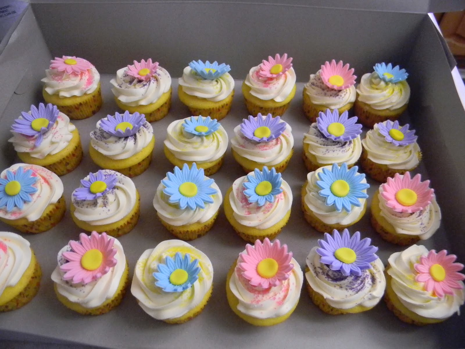 Cupcake Ideas For Birthday Girl : Batter Up Cakes: Daisy First Birthday Cupcakes