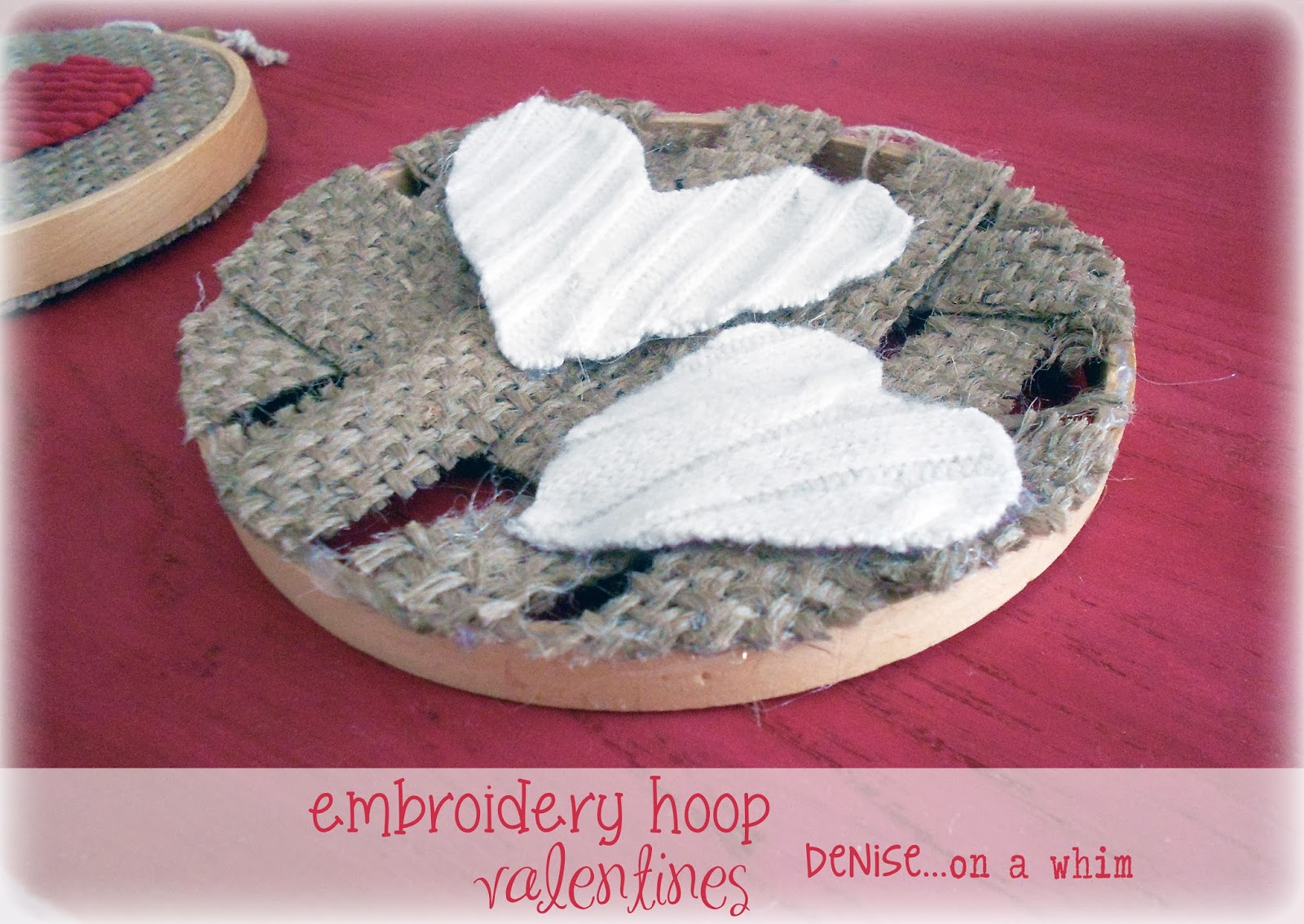 Weaved Burlap and White Sewater Scrap Valentines via http://deniseonawhim.blogspot.com