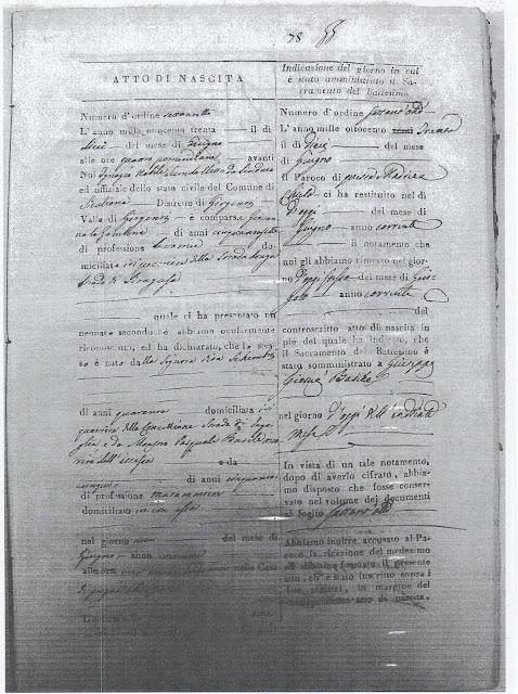 Atto di nascita del Medico Garibaldino Dr. G. Basile (n° inv. A7)