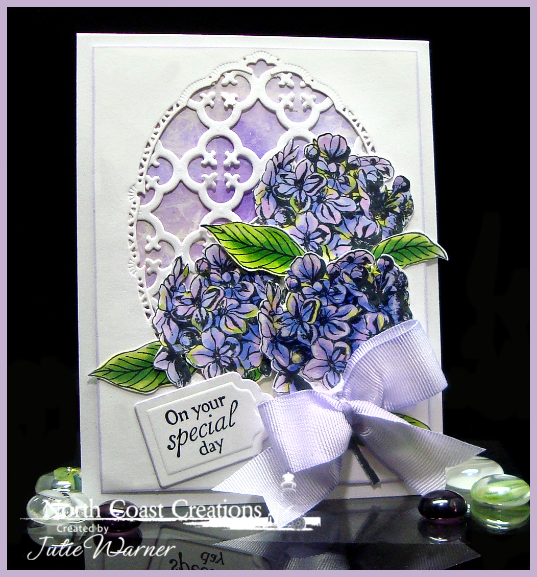 Stamps - North Coast Creations Floral Sentiments 6, ODBD Custom Quatrefoil Pattern Die, ODBD Custom Recipe Card and Tags Dies