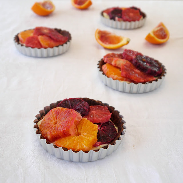 Chocolate and blood orange tartlets with mascarpone cream