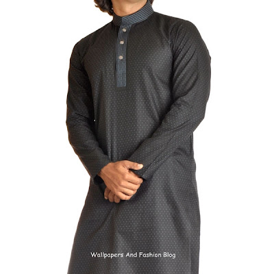 Junaid Jamshed Latest Black Kurta Salwar (Salwar Kameez)  Designs for Men 2012