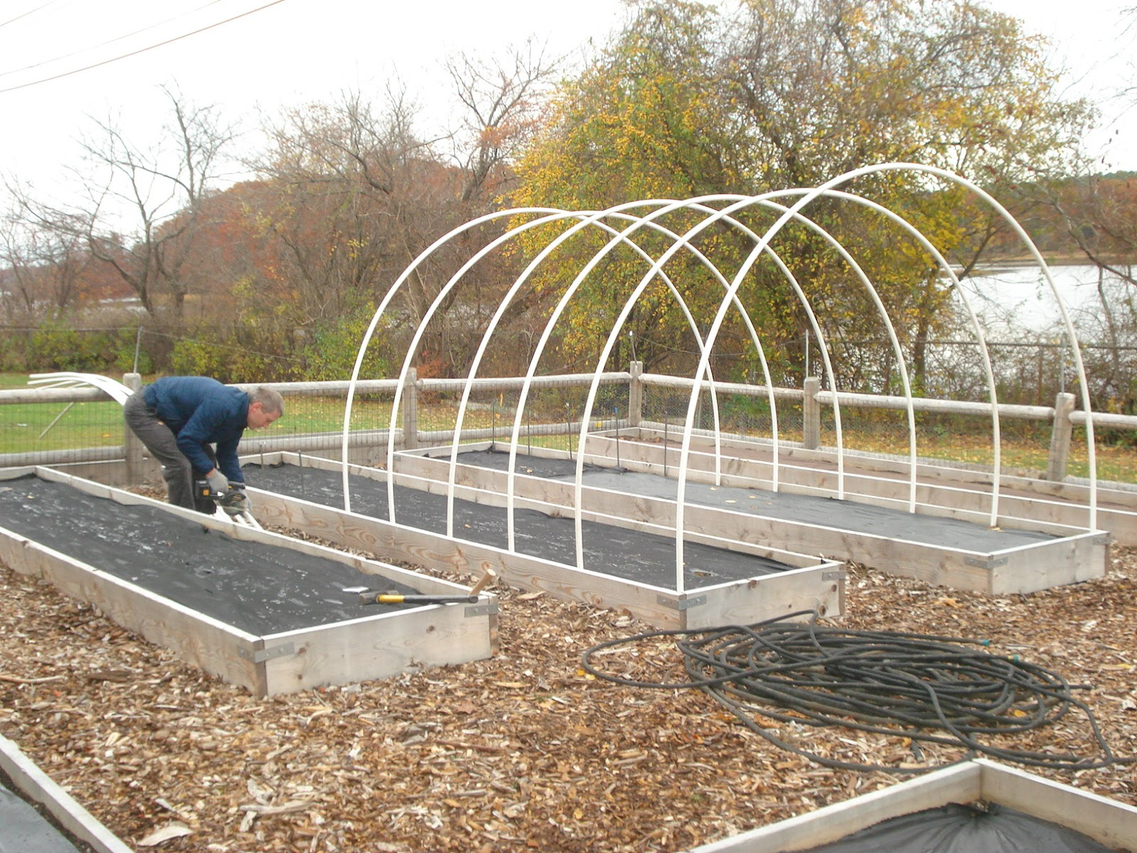 Little Harbour School Garden Building the Hoop House