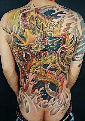 Chinese dragon free tattoo design, full back
