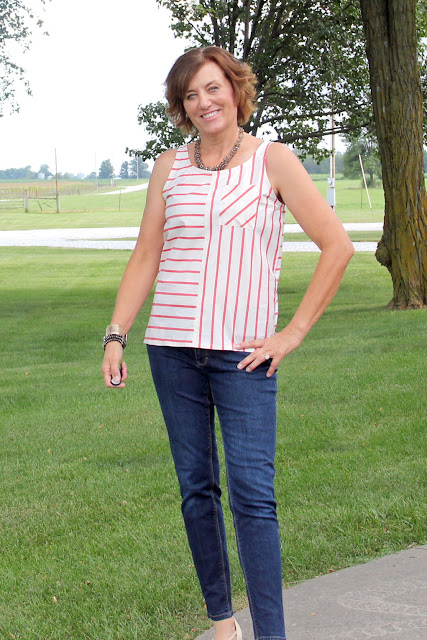 McCall's 6928 stripe sleeveless top, using Mood Fabrics' stripe shirting.