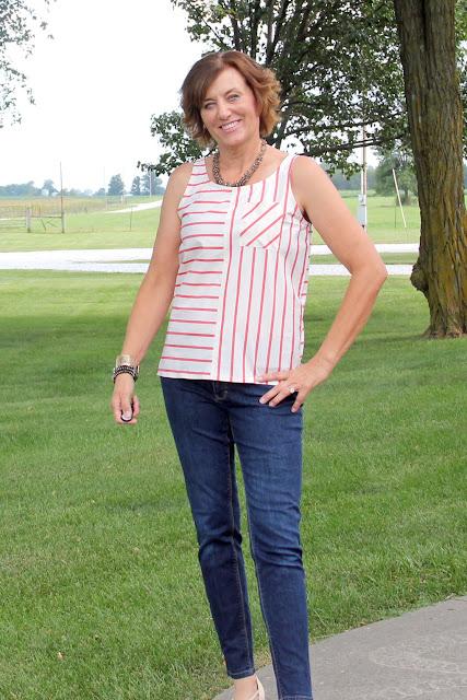 McCall's 6928 stripe sleeveless top, using Mood Fabrics' stripe shirting.