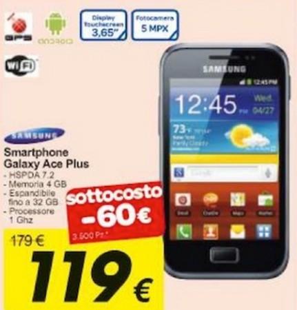 Per 119 euro potete acquistare in sottocosto il Galaxy Ace Plus da Carrefour: disponibili 3500 pezzi