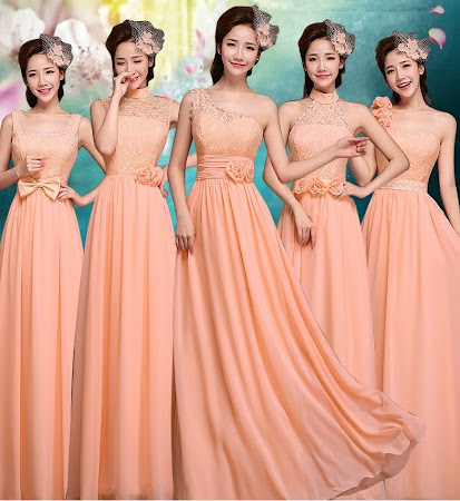 Six-Design Coral Lace Top Chiffon Maxi Bridesmaids Dress