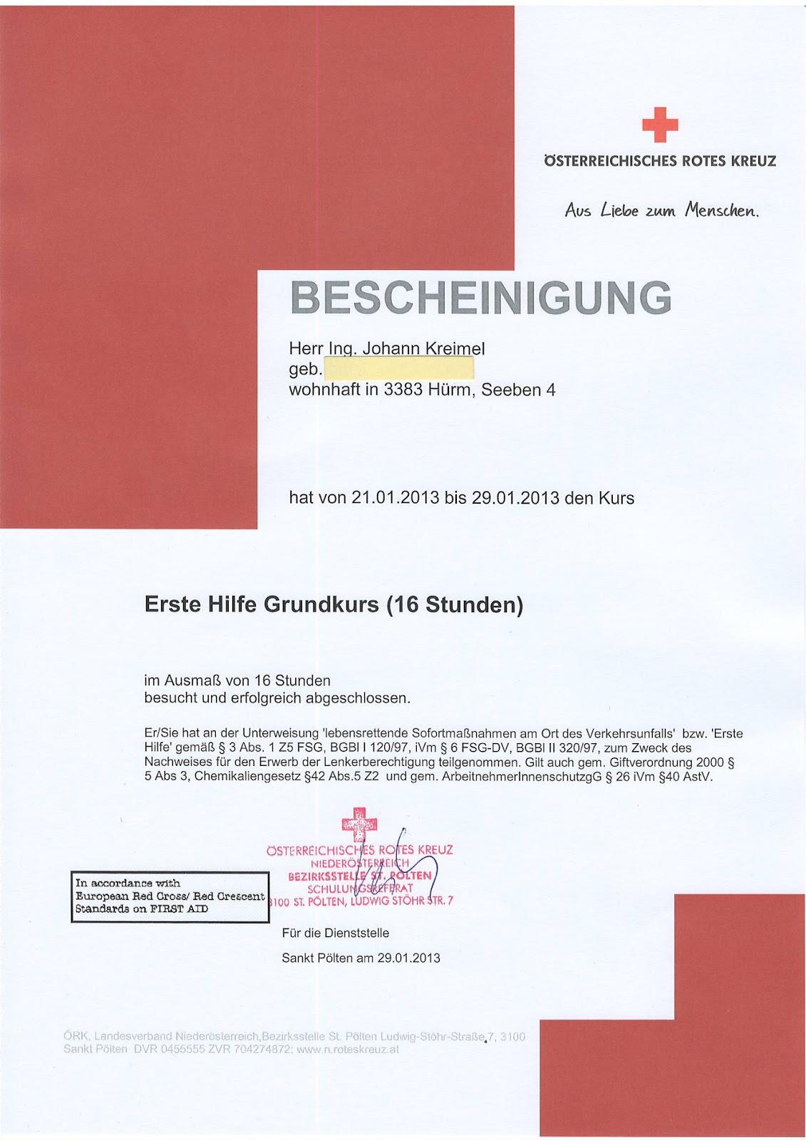 Tolle Erste Hilfe Zertifikat Vorlage Ideen - Entry Level Resume ...