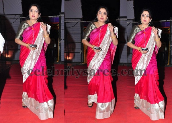 Ramya Krishna Traditional Pink Saree