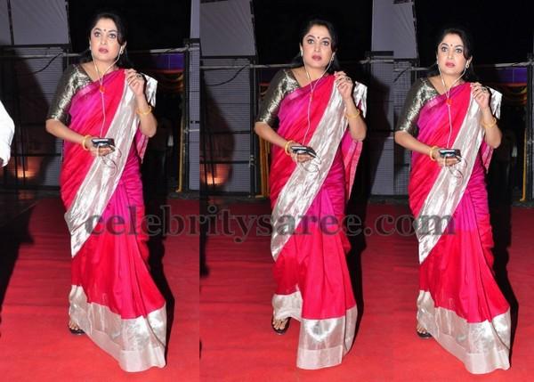 Ramya Krishna Traditional Pink Saree