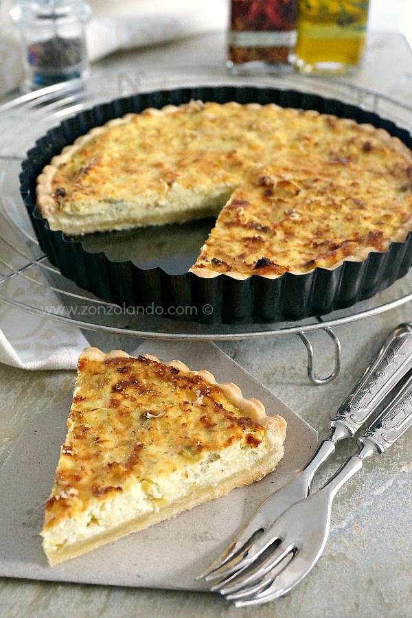 Torta salata ai porri e ricotta ricetta facile vegetariana secondo piatto Leek and ricotta tart recipe veggie
