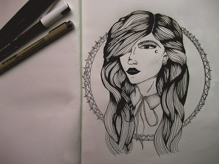 draw on monday #9, enjoyk, portrait auto portrait, dessin, draw, blog, blogueuse, dot,