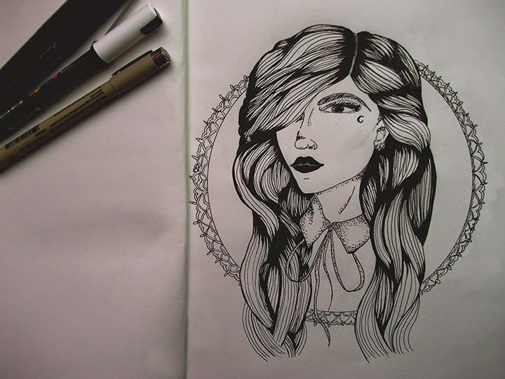 draw on monday #9, enjoyk, portrait auto portrait, dessin, draw, blog, blogueuse, dot,