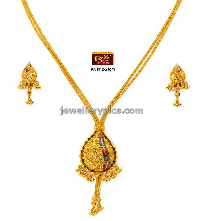 jewellery design pictures: 3 cute Gold necklace sets by Riti ...