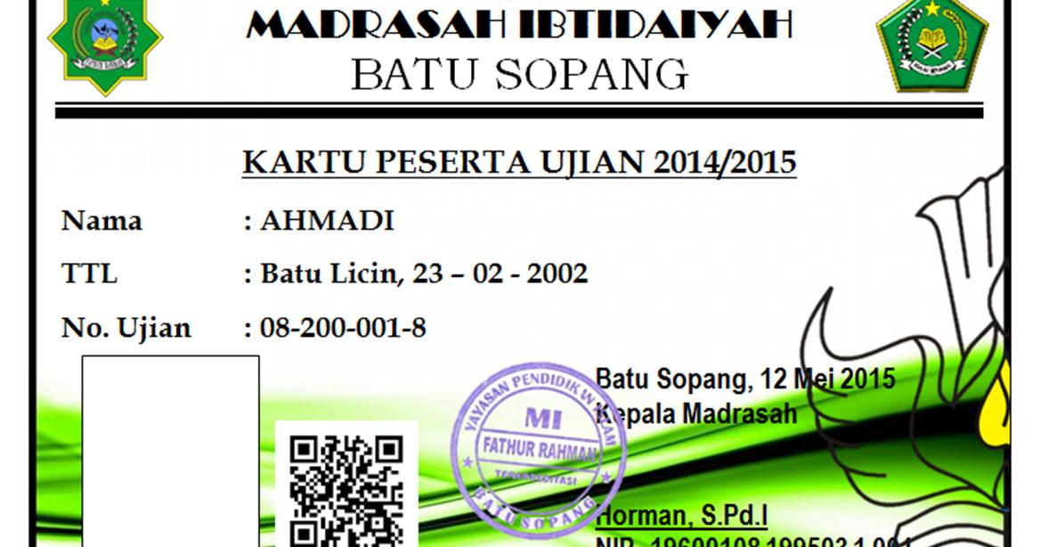 Contoh Kartu Peserta Ujian Tp 2014 2015 Mis Fathurrahman Batu Sopang