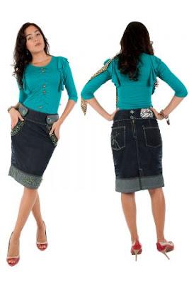 Fotos de Modelos de Saias Jeans para Evangélicas