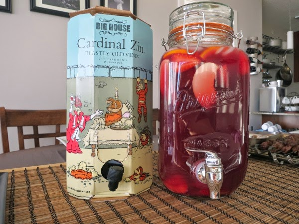 Simple summer sangria made with Big House Wine Cardinal Zin