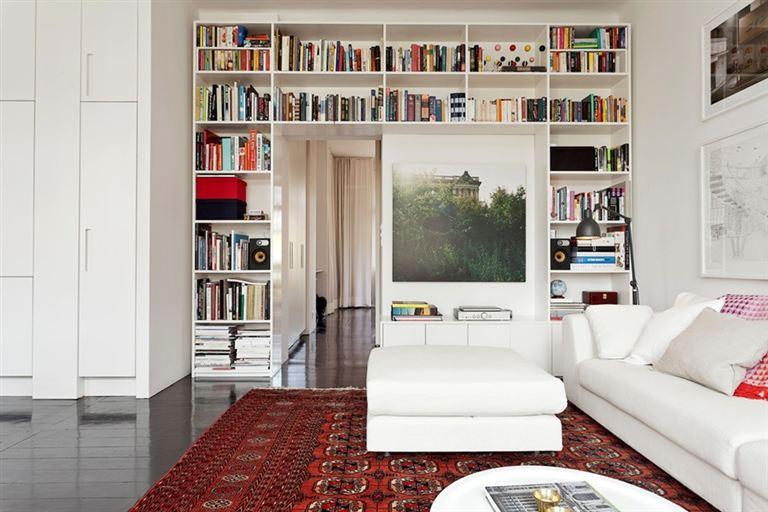 bokhylla vägg ~ studio karin snygg arkitektritad vÅning i vintagemÖter