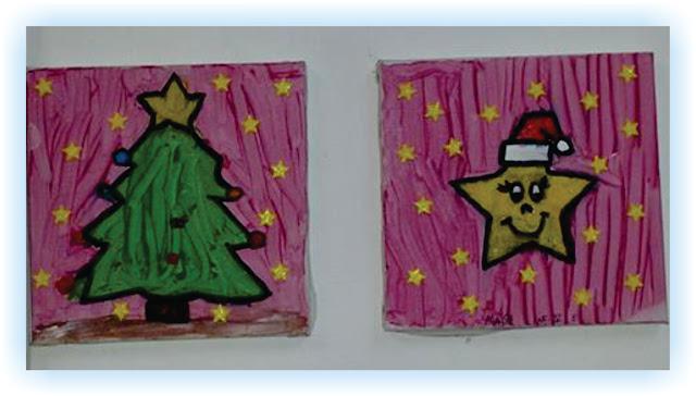 Pintura de tela Educação Infantil Elementos natalinos