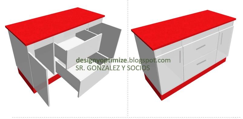 Dise o de muebles madera fabricaci n isla de cocina for Planos muebles de cocina para armar