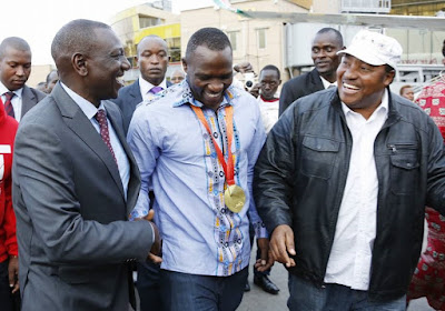 Julius Yego welcomed at JKIA by friends and relatives