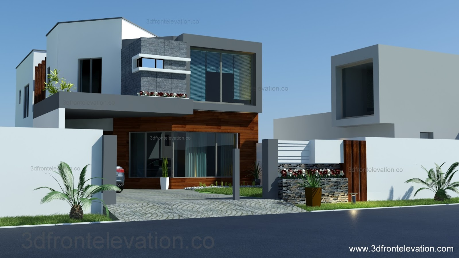 3d front 8 marla house plan layout elevation for Best house front design