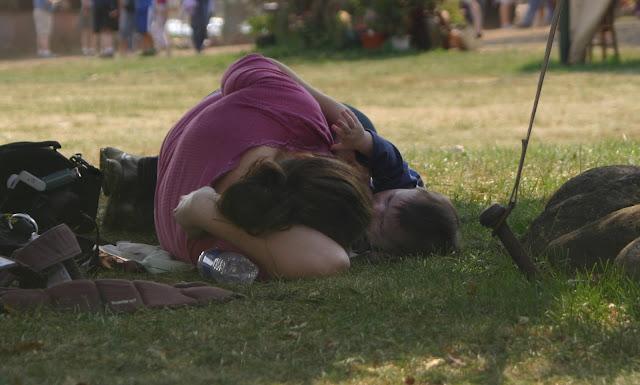 Mama breastfeeding her baby in public