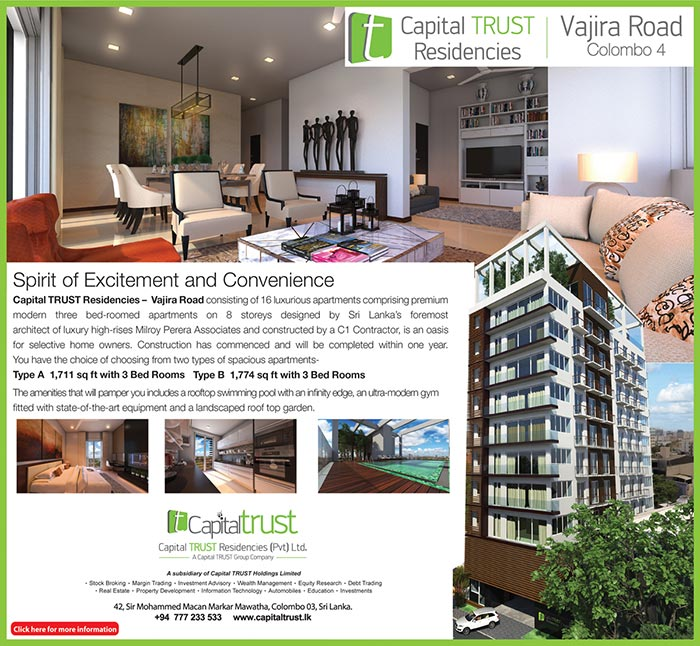 CapitartRuST Residencies - consisting of 18 luxurious apartments composing premium modern Three bed-roomed apartments on 8 stores designed by Sri Lanka's foremost architect luxury high-rise Milroy Perera  Associates and constructed by a C1 Contractor, is an oasis for selective home owners. Construction has commenced and will be completed with in one year. You have the choice of choosing from two type of spacious apartments.