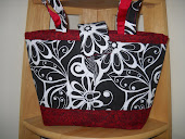 Black with Red Trim Medium Tote