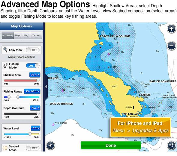 I marine apps navionics advance map options for Navionics fishing app