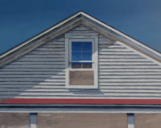 old white house attic window, open, cobalt  blue sky, triangle roof
