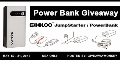 Enter the Power Bank Car Jump Starter Giveaway. Ends 5/31