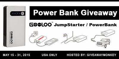 Enter the Power Bank Car Jump Starter Giveaway. Ends 5/31