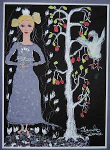 tyttö, lintu ja omenapuu