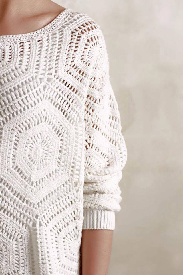 Free Crochet Patterns With Instructions : Free Crochet Pattern and Instructions for Anthropology Pullover ...