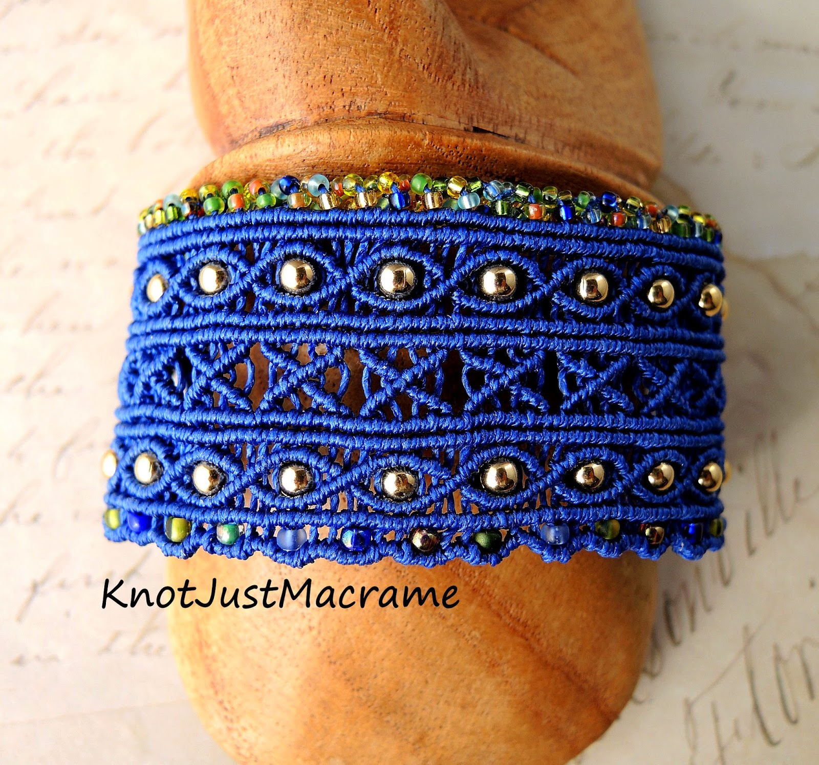 Blue macrame cuff from Knot Just Macrame