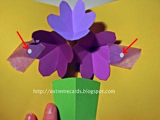 three flower pop up card petal placement