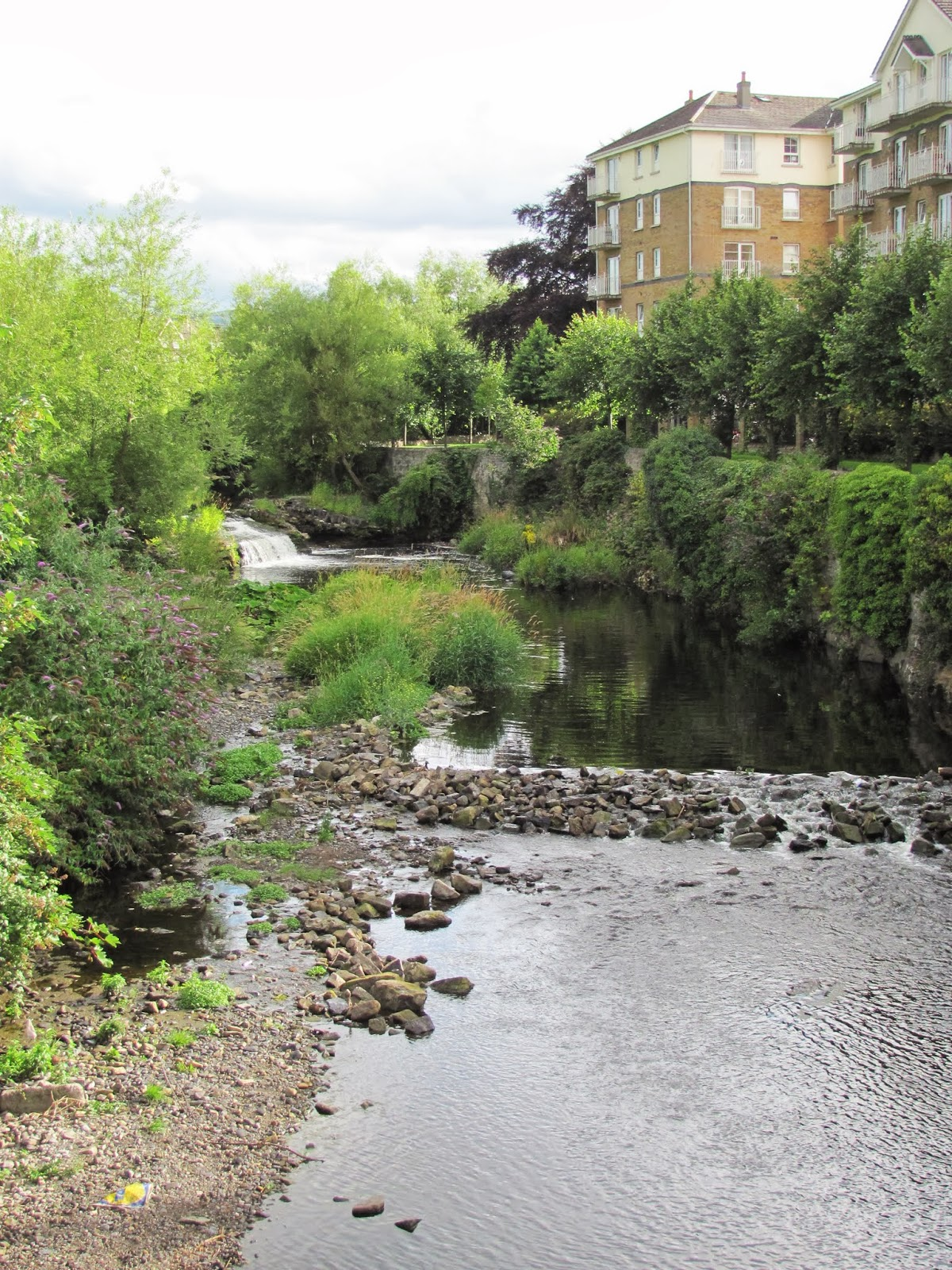 Apartment buildings are seen along a riffle on the River Dodder in Dublin, Ireland