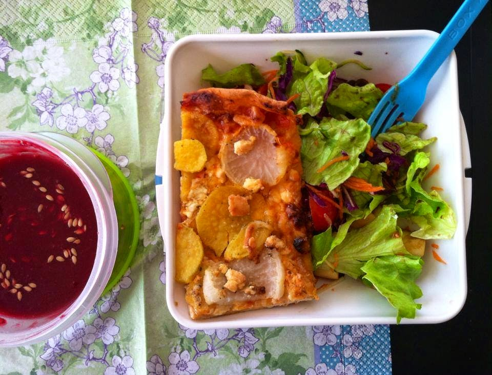Lunch : Beet creamy soup. Sweet potato, turnip and feta pizza with ...