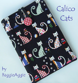 Calico Cats, quirky multi coloured handmade fabric ereader / tablet case sleeve cover for Kindle, Nexus 7, ipad Mini, Galaxy Tab, Kobo Touch, Blackberry Plabook.