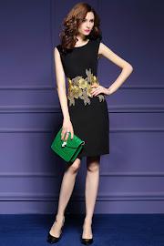 New 2016 Sleeveless Waist Embroidery Blue/Black OL Dress