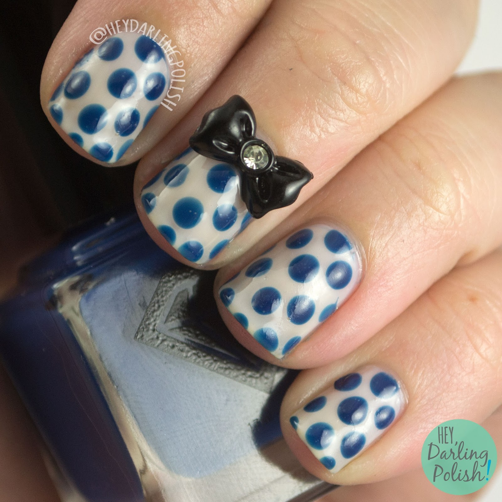 nails, nail art, nail polish, luxe lacquers, hey darling polish, cream, polka dots, blue, bow