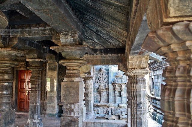 Inside the open mukhamandapa with each of the pillar design being unique