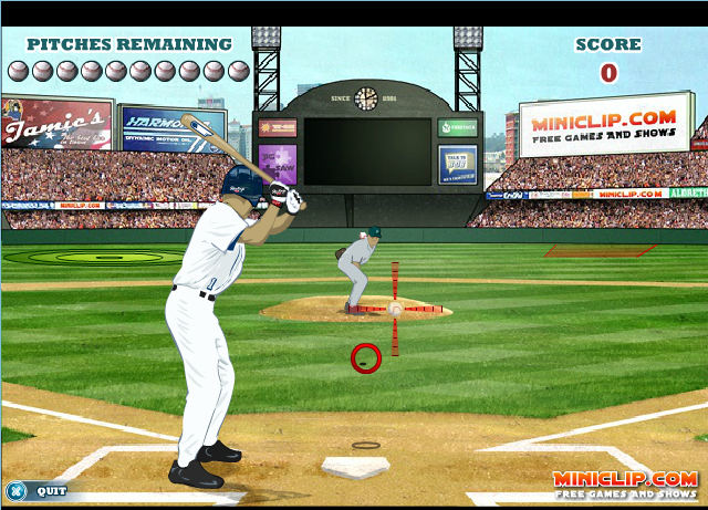 In this excellent baseball simulator with two games modes you can play a complete match or just practice. Move the mouse to the cross and make click to swing.